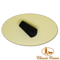 Square aperture domed black rubber ferrule for use with Classic Canes Seat Sticks  (#2012)