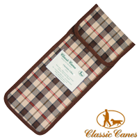 Brown Checked canvas Walking Stick Pouch from Classic Canes (#2023) 