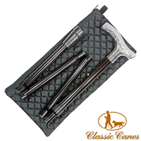 Chrome Handled Folding Stick With Quilted Pouch