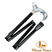 Black derby aluminium folding walking stick with marbled acrylic handle from Classic Canes (#2114)  Artcode: 4619A  Barcode: 884285007530