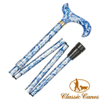Blue paisley design derby aluminium folding walking stick with acrylic handle from Classic Canes (#2134)