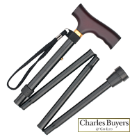 Black aluminium extra long folding walking stick with aluminium wooden handle from Charles Buyers (#2140)