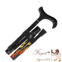 Dr. House style black carbon fibre folding walking stick with red flames and derby handle from Fayet (#2147)