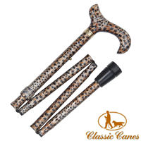 Brown (Animal Print) aluminium folding walking stick with aluminium acrylic handle from Classic Canes (#2153) Artcode: 4646A Barcode: 884285008674