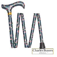 Blue morris design folding walking stick with derby handle  from Charles Buyers (#2167-10) Artcode: 80MH